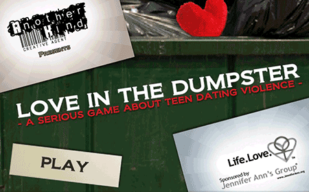 Title screen for 2013 first place winning video game to prevent teen dating violence.