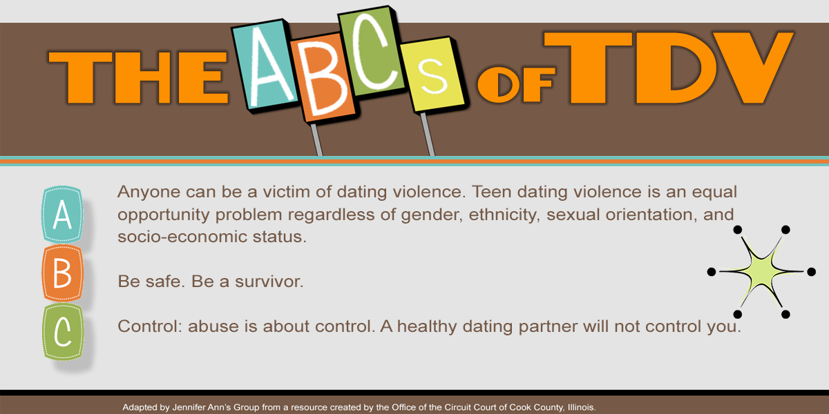 The ABCs of TDV. Teen dating violence A, B, C.