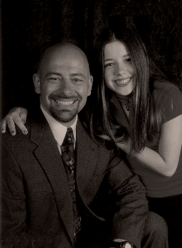 Black and white picture of Jennifer Ann Crecente at the age of 14 with her father.