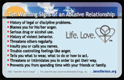 Warning signs of an abusive dating relationship